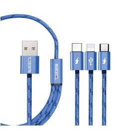 Teutons 3 in 1 Quick Charge Type C USB Cable